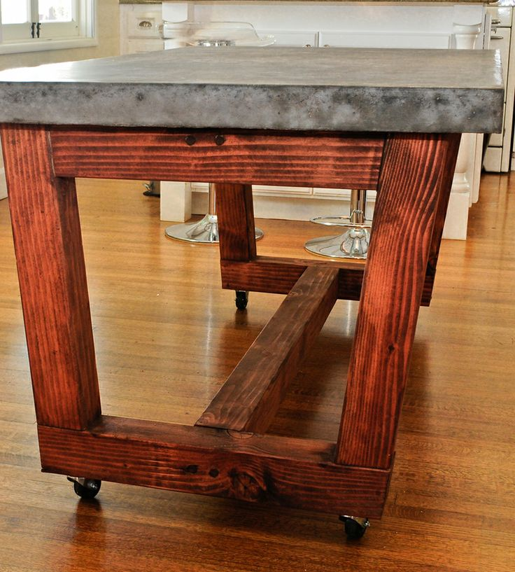 14 best images about rolling counter on pinterest for Concrete kitchen table