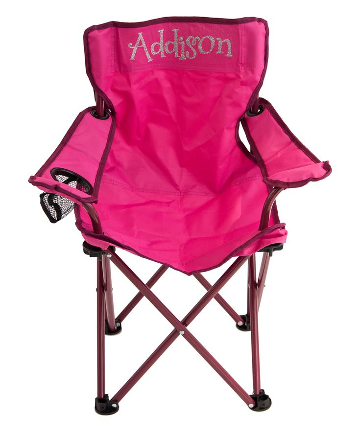 Pink & Silver Personalized Kids' Folding Chair