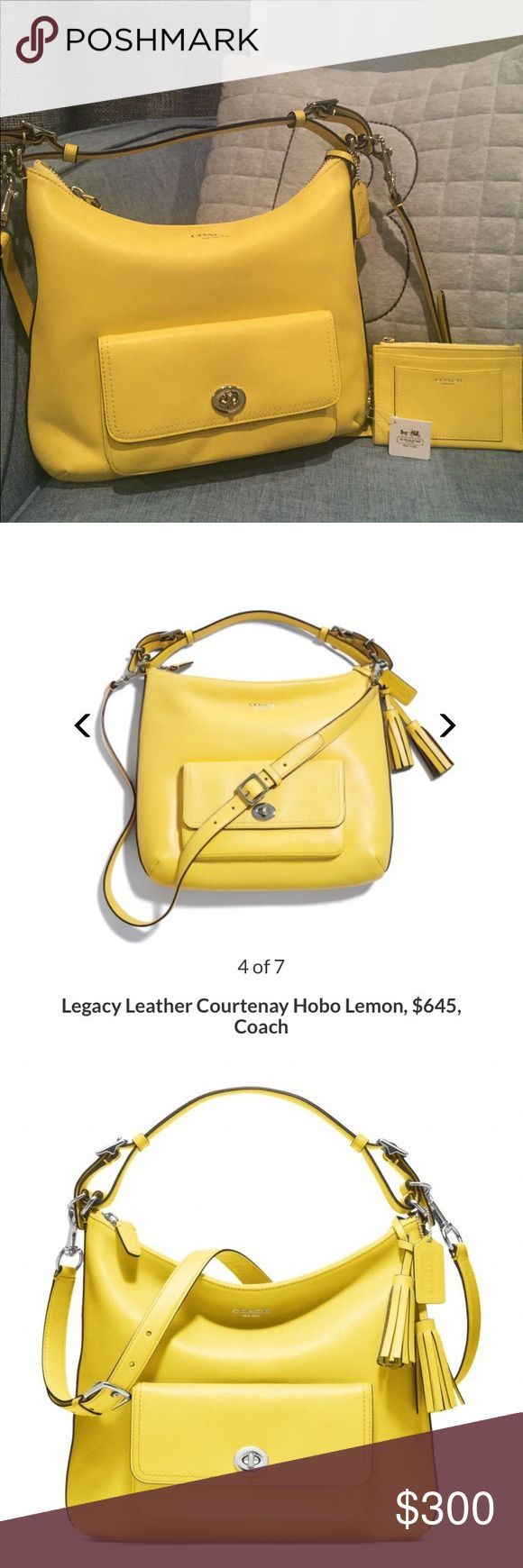 Brand New Coach Legacy Courtenay Hobo and wallet! Brand new Coach Legacy Courtenay hobo bag with matching slim wallet in the perfect lemon yellow!! Never been used, originally stuffing and care card in purse! The wallet still has the tags and care card! The purse was originally $645 and the wallet was $68!! What a deal for both!!! 😘😘 Coach Bags Hobos