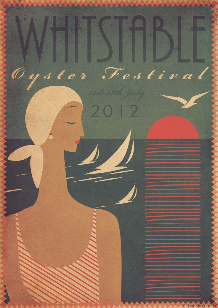 Original Design Art Deco A3 Poster Print Bauhaus Vintage Whitstable, Kent - Beach Seaside Holiday Travel