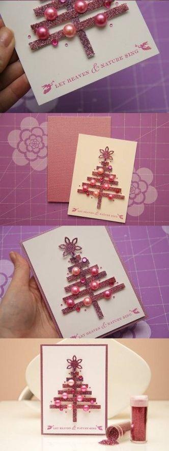DIY Strips Paper Christmas Card