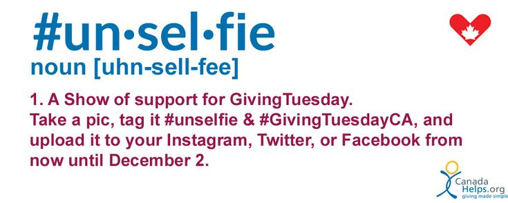 Join the #GivingTuesday movement with an #Unselfie! It's easy, especially with our ready-to-go template! https://www.canadahelps.org/media/Unselfie-Template.pdf #GivingTuesdayCa #CanadaHelps