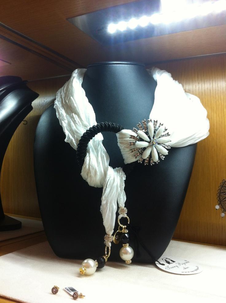scarf with jewelery