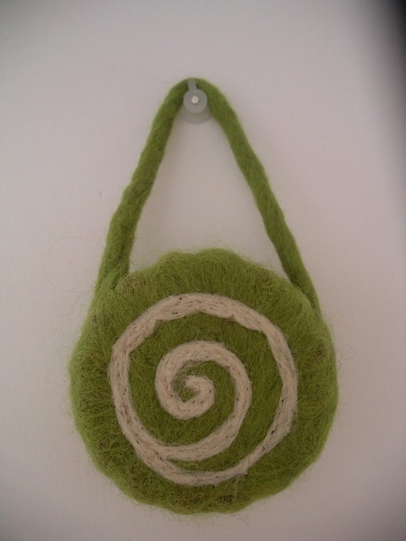 Felted soap. great idea with the handle to hang and dry