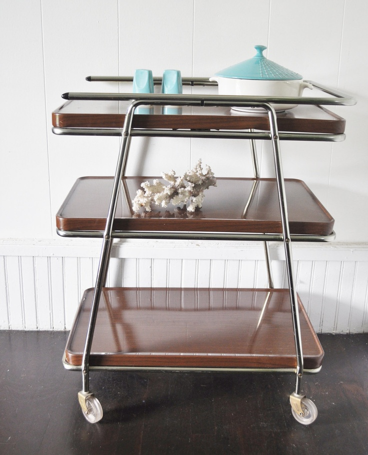 Mid Century Rolling Kitchen Cart
