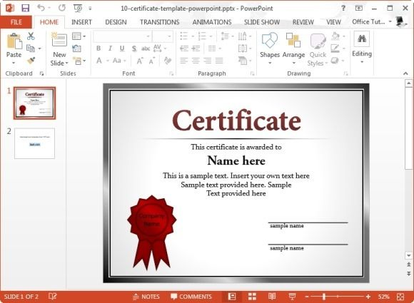 Free Powerpoint Microsoft Certificate Template  Microsoft