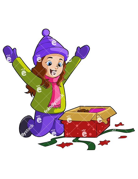 A Happy Little Girl Unboxing Her Christmas Gift (With ...