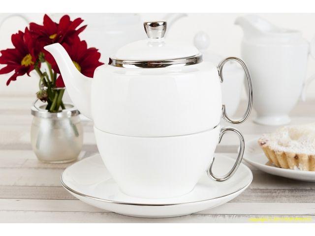 Zestaw do herbaty Tea For One biały ze srebrnymi zdobieniami
