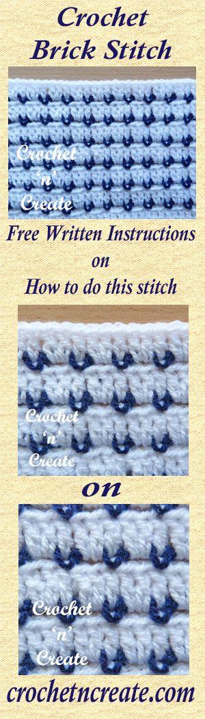 A free written tutorial for crochet brick stitch. #crochet