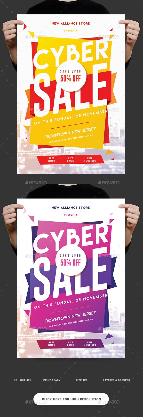 Cyber Sale Flyer Template PSD