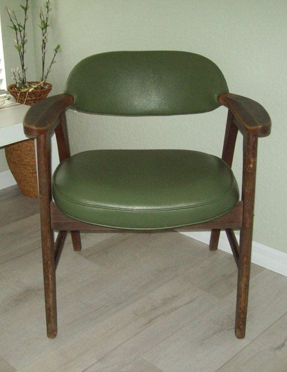Mid Century Wood Office Chair With Avocado Green By