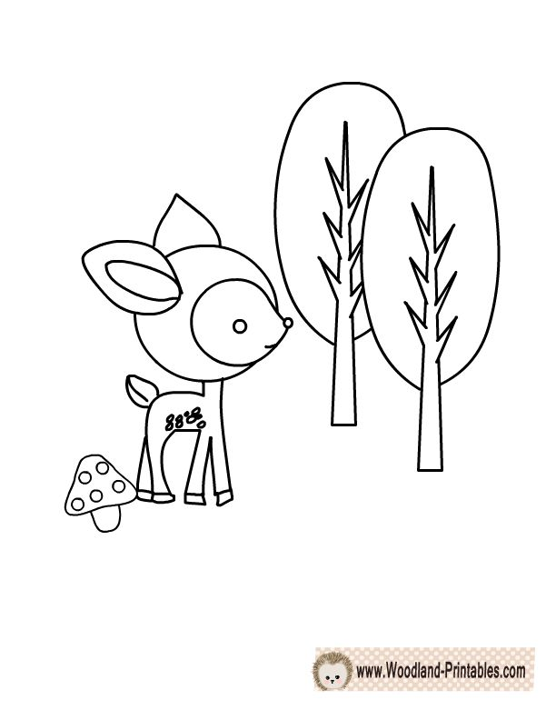 Free Printable Woodland Deer Coloring Page Boy baby