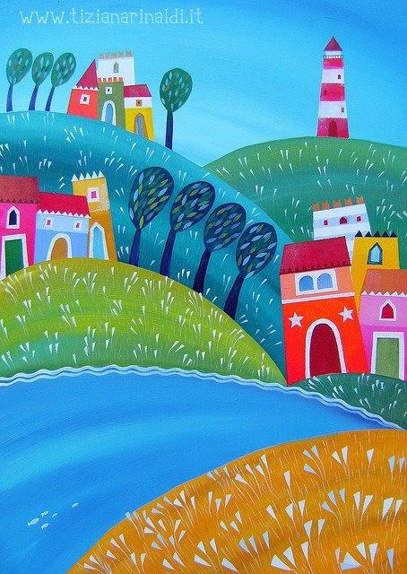 Un breve tratto di mare - by Tiziana Rinaldi #lighthouse #sea #landscape #village #fjord #painting #art