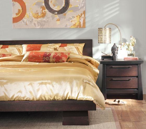 Asian And Craftsman Style Platform Queen Bed Bedroom