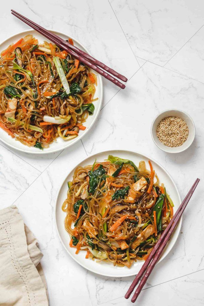 Vegan Japchae Korean Stir Fried Glass Noodles Okonomi Kitchen Resep Makanan Korea Japchae Makanan