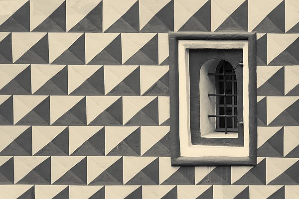 """Geometric Wall Pattern on an Old Fortress. From """"Wall and Windows lines"""" Photo Series."""