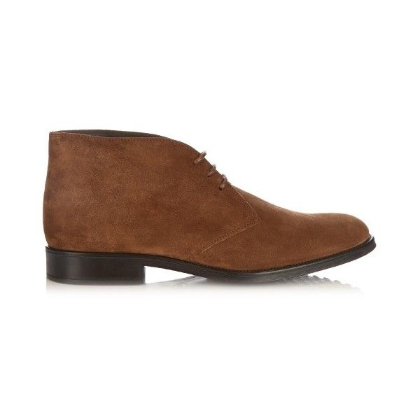 Tod's Polacco suede chukka boots ($310) ❤ liked on Polyvore featuring men's fashion, men's shoes, men's boots, mens brown chukka boots, mens chukka shoes, mens brown suede chelsea boots, tods mens shoes and mens shoes chukka boots
