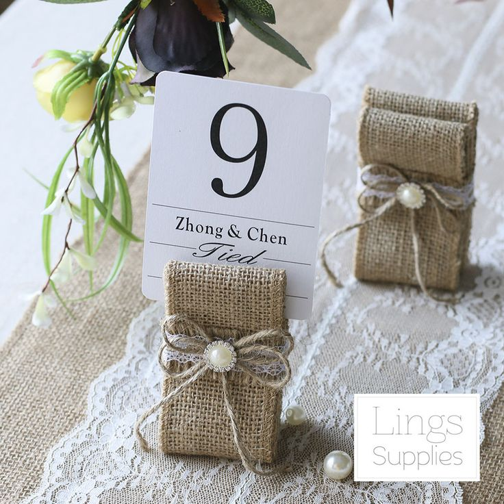 12/24pcs Vintage Table Number Holders Burlap Wedding Place Name Card Holders