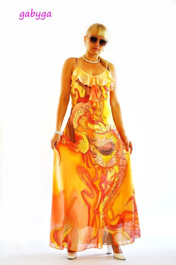 Hand painted Long Chiffon dress/Painting chiffon/Evening dress/Prom dress/Bridesmaid chiffon Maxi dress/Long dress/Orange party  dress