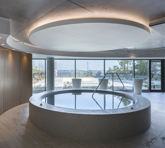 POINTE-NORD | Montreal | Architecture | Interior Design | Evolo 2 | Residential | Spa | Water | Indoor | Concrete | Light | Tile