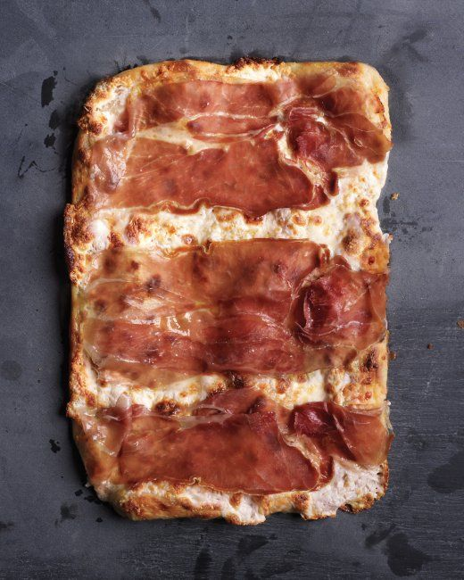 Prosciutto Mozzarella Pizza yum. (Though we're fans of saving time with pre-made dough.)
