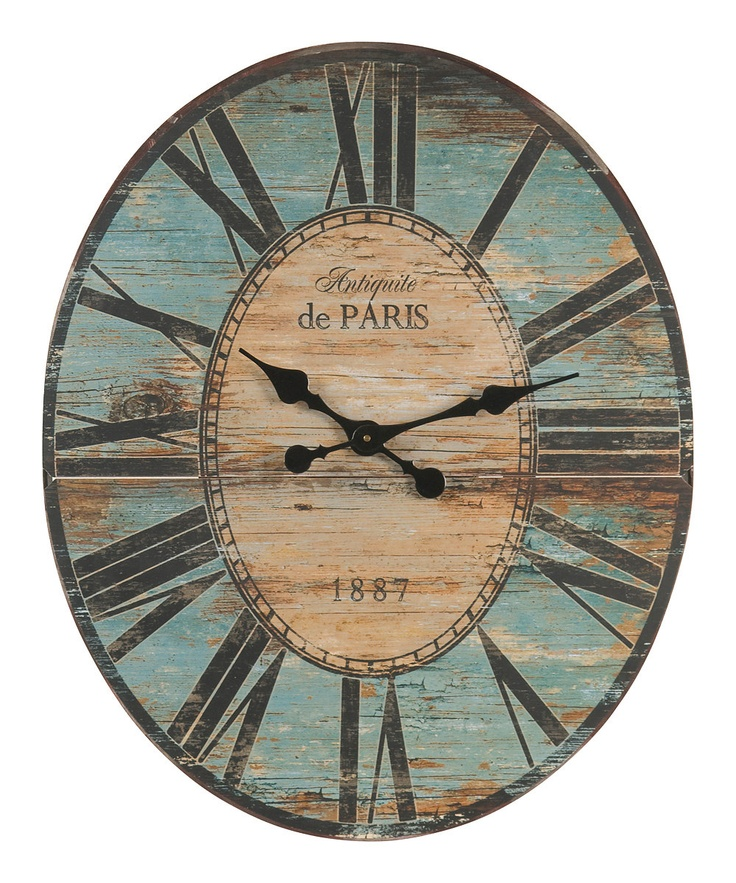 Beige & Blue Wall Clock