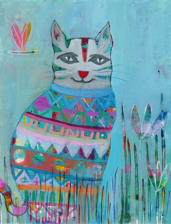 Cat and Dragonfly Original Acrylic Painting by coocoovaya