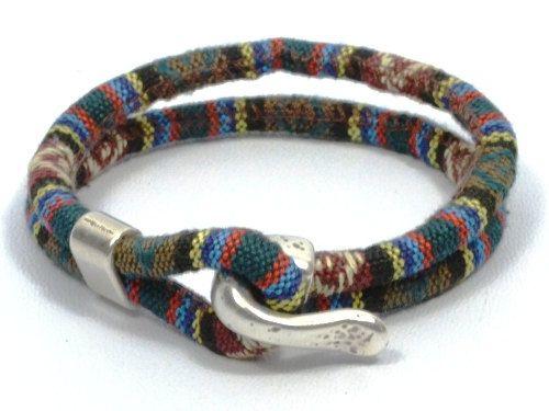 multicolor fabric bracelet, green ethnic bracelet, men nautical bracelet, anniversary gifts for men, gifts for boyfriend