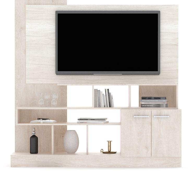 Modular TV Led - Roble Escandinavo + Helsinki Estos diseños están inspirados en la calidez y simpleza de la veta de la madera. Fabricados con melamina texturada de 18mm de espesor, estos muebles fueron diseñados con la finalidad de que puedan incluir un Led TV de hasta 60''. Incluyen terminaciones delicadas, herrajes metálicos, filos de PVC y pasacables ocultos.