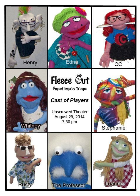 Meet the cast from Fleece Out, a puppet improv troupe from Tucson AZ.  All members are improv entertainers combining their love of improv with puppetry.  Each member made their own puppet.  As they work with the puppet, the character continues to develop.  I'm proud to be one of the two directors of this creative group.  www.TheTucsonPuppetLady.com