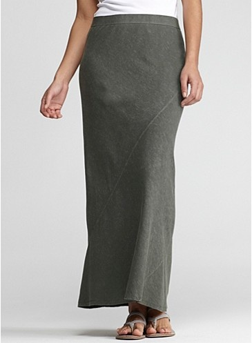 Full-Length Skirt with Diagonal Seams in Organic Cotton Hemp Twist