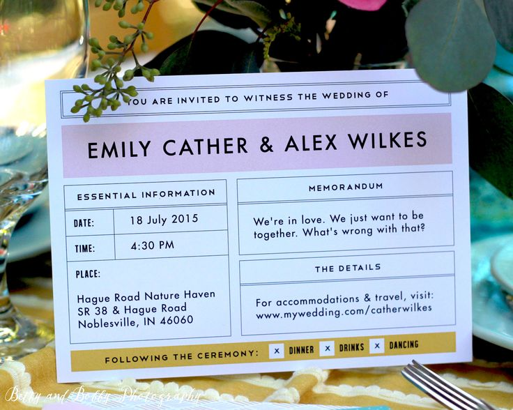Moonrise Kingdom wedding invitation, photographed by Betty & Bobby Photography.