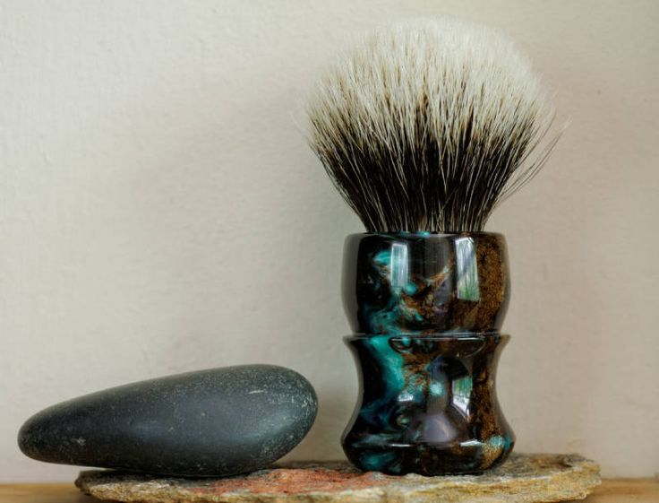 Shaving Brush - Black Peacock Handle Hand-Made with Two Band Finest Badger Knot by LoveYourShave on Etsy