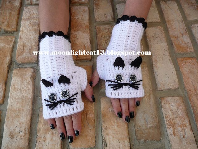 Fingerless Glove - ovr 30 variations of same pattern, modified to kitty, owl, etc.