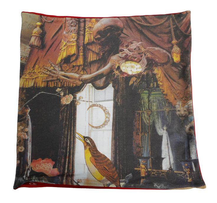 Cotton plush cushion that shows part of the famous story The Nightingale by Hans Christian Andersen #nightingale #bird #hcandersen #cushion #pillow #decor #digitalprint #cushionsale #shop #handmade #buy #art #fairytale #homedesign #print #interiordesign #luxury #story #forbed