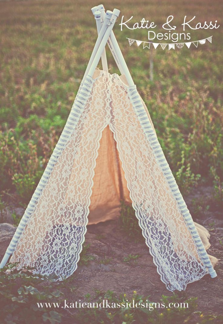 Burlap Lace TeePee Playroom Tent Photography Prop Wedding Decoration Photo Booth