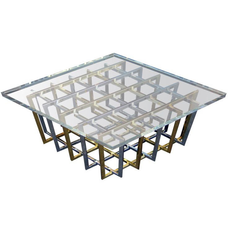 A Brass And Chrome Cage Coffee Table By Pierre Cardin C. 1970u0027s