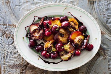 Grilled stone fruit with red wine syrup