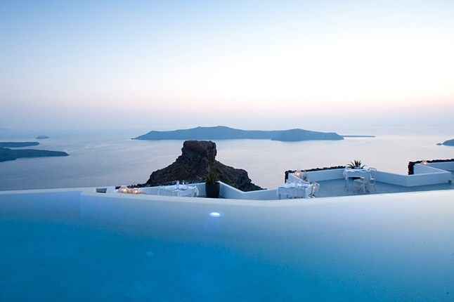 VISIT GREECE| Infinity pool at the Grace Santorini, in the Greek Islands.