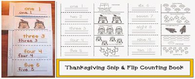 Classroom Freebies: Thanksgiving Emergent Reader Snip and Flip Counting Booklet