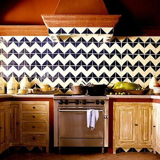 Harlequin Mexican Tile | Apartment TherapyBack Splashes, Kitchens Design, Living Room Design, Kitchens Tile, Chevron Pattern, Chevron Tile, Interiors Design, Design Kitchen, Chevron Backsplash
