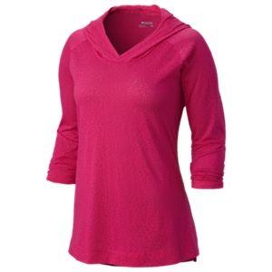 Columbia See Through You Burnout 3/4 Sleeve Hoodie for Ladies - Cirrus Grey Burnout - XS