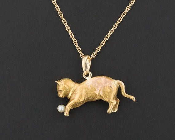 18k Gold Cat Pendant With Optional Chain Antique Pin Conversion Kitten Charm Or Pendant Antique Cat Pendant Cat Cat Pendants Conversion Jewelry Jewelry