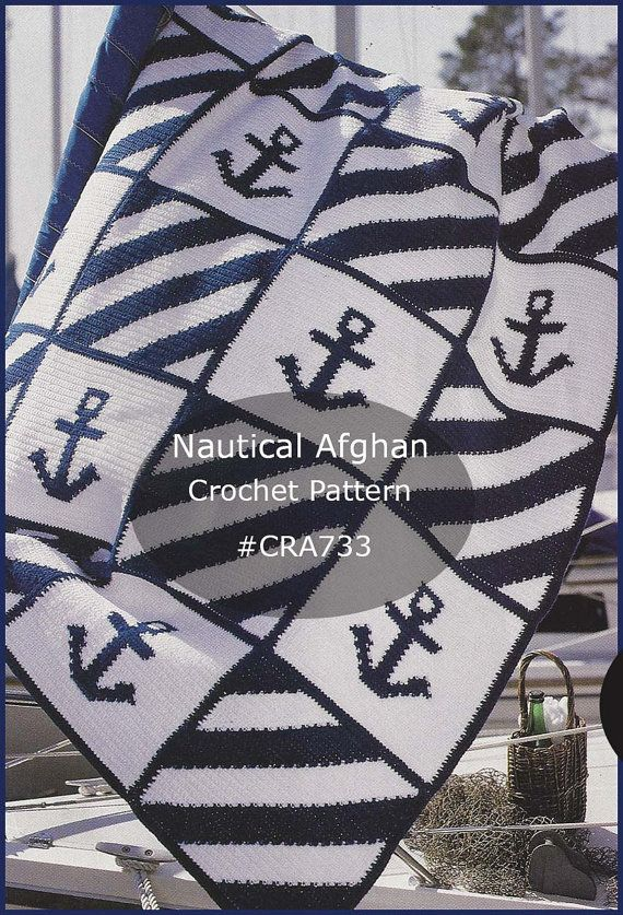 Nautical Anchor Afghan Crochet Pattern ~ Intarsia Technique Used~ Sailing Anchor Afghan To Crochet #CRA733-PDF  Available Mailed- Pattern
