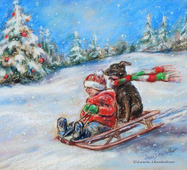 CHRISTMAS SLED RIDE, snow scene, child and dog, sledding, winter, reproduction print 8x10, via Etsy.