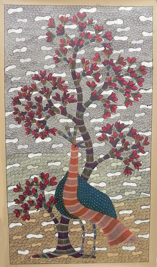 Gond  Peacock And The Tree Painting