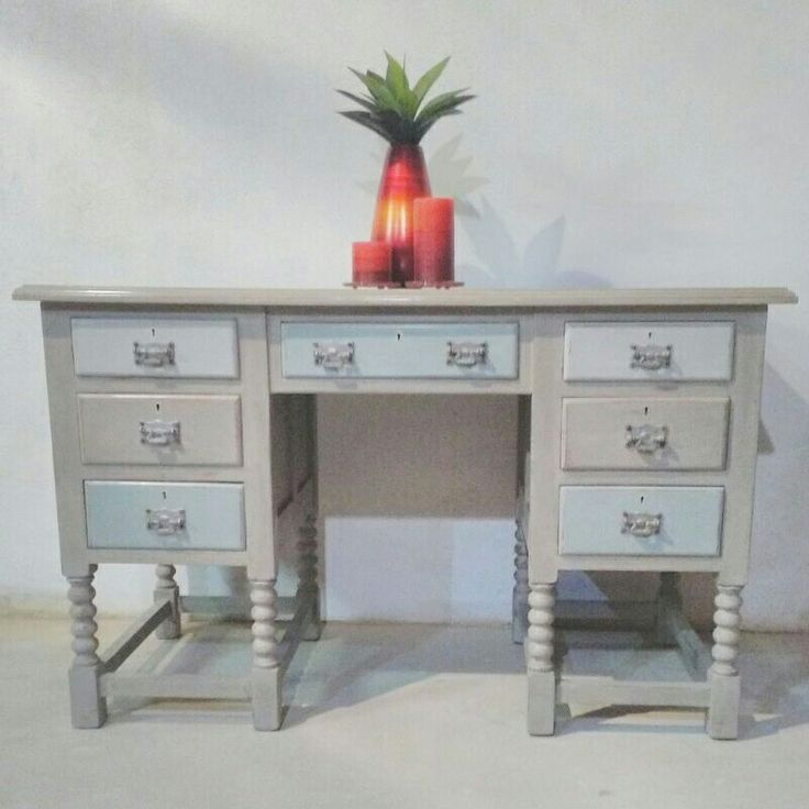 Beautiful vintage desk painted with Annie Sloan French Linen. Drawers painted Paris Grey, French Linen and Duck Egg Blue with original handles. Can be used as a desk or in the hallway.https://www.facebook.com/carolizeinteriors/