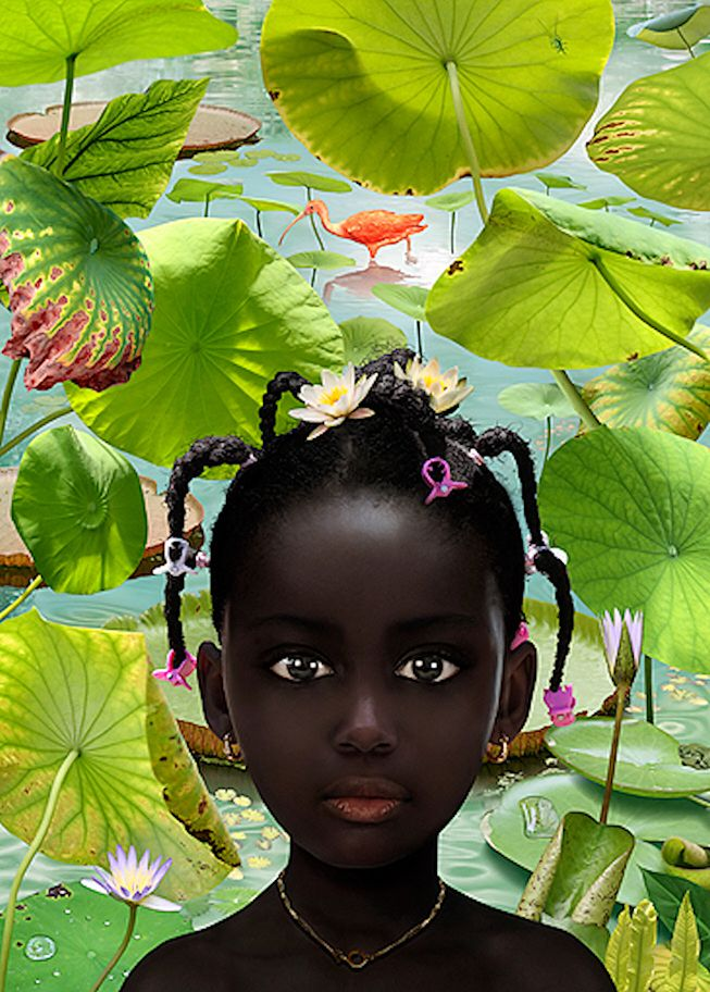 """World #30"" - Ruud Van Empel, 2008 {contemporary artist color plants #naturalhair child contrast beautiful black girl face portrait painting}"