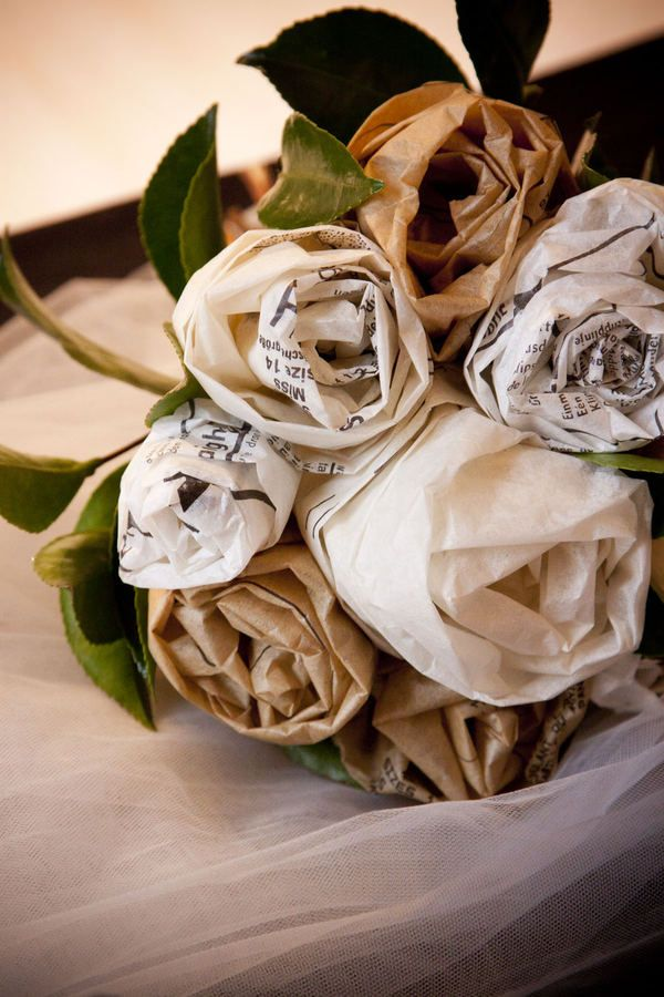 a bouquet made from dress patterns...