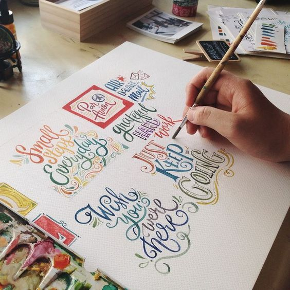 This watercolour lettering is incredible! I'm so jealous ^_^:
